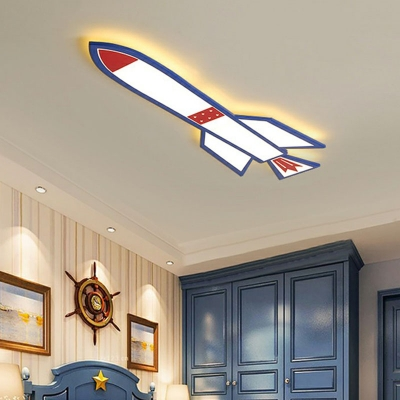 Space Rocket Bedroom LED Ceiling Lamp Acrylic Childrens Flush Mounted Light in Blue