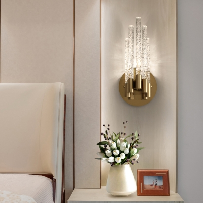 Tubular K9 Crystal Sconce Light Fixture Minimalistic Gold Wall Mounted Lamp for Bedroom