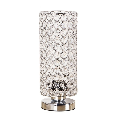 Chrome Finish Cylindrical Table Light Modern 1-Bulb Metal Nightstand Lamp with Crystal Beads