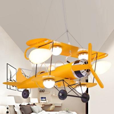 Jet Plane Child Room Chandelier Lamp Metallic Modern LED Hanging Lighting in Yellow