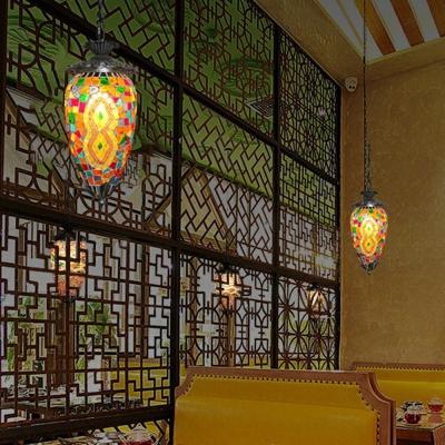 Stained Glass Pendulum Light Oval 1-Bulb Bohemian Hanging Light Fixture for Restaurant