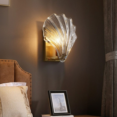 Transparent Glass Shell Wall Mounted Lighting Minimalist 1 Head Antiqued Gold Sconce for Bedroom