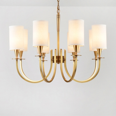 Brass Finish Swoop Arm Chandelier Colonial Style Metal Living Room Hanging Lamp with Cylinder Fabric Shade