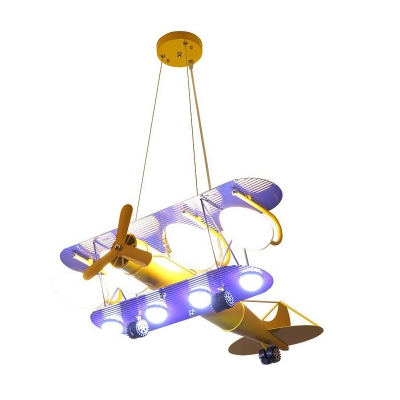 Childrens 4 Bulbs Chandelier Yellow Biplane Hanging Light Kit with Opal Glass Shade