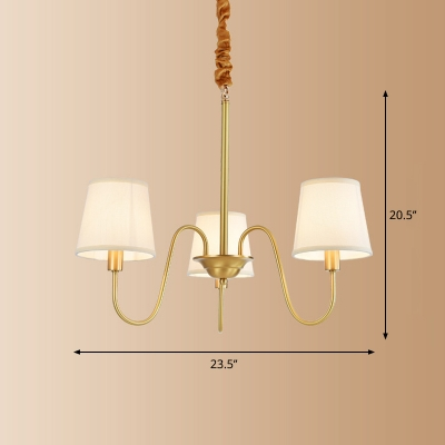 Tapered Fabric Hanging Light Minimalist Living Room Chandelier with Swooping Arm in Brass