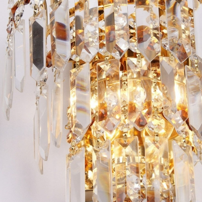 4 Tiers Wall Mount Light Postmodern Crystal 2 Bulbs Gold Finish Flush Mount Wall Sconce