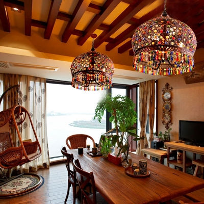 Bohemian Dome Shaped Hanging Light 3 Bulbs Multi-Colored Crystal Pendant for Dining Room