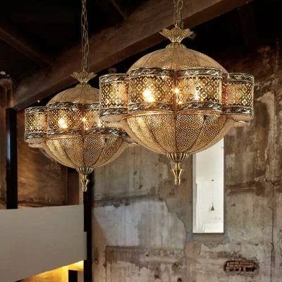 Bronze 6 Light Ceiling Hanging Lantern Moroccan Metal Hollow-out Floral Pendant Lighting Fixture