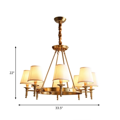 Colonial Style Cone Chandelier Fabric Hanging Pendant Light in Brass for Living Room