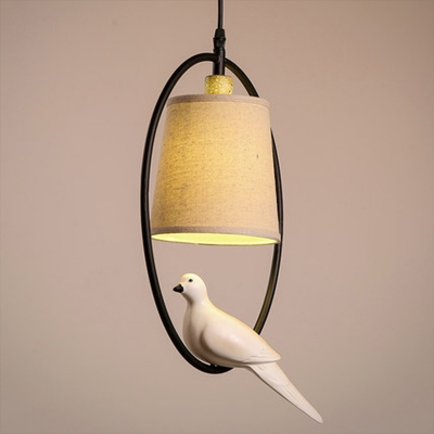 Conical Dining Room Suspension Light Farm Style Fabric White Hanging Lamp with Oval Ring and Bird Decor