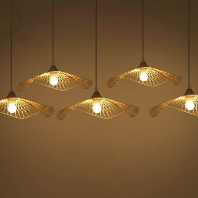 Japanese Style Lotus Leaf Ceiling Light Bamboo 1 Bulb Restaurant Hanging Lamp in Wood