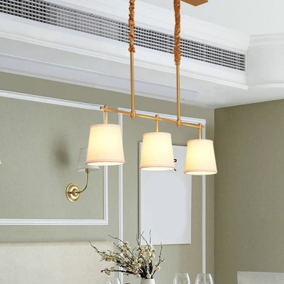 Linear Dining Room Island Lamp Simplicity Metal 3-Light Brass Pendant with Tapered Fabric Shade