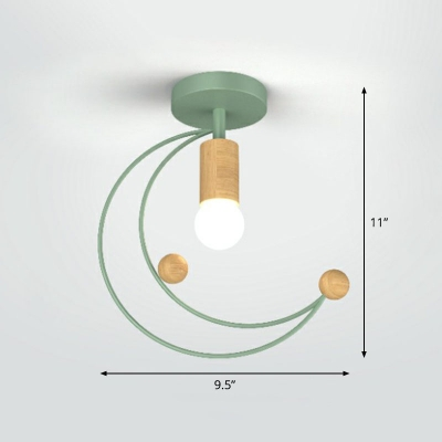 Nordic Geometric Semi Mount Lighting 1-Head Metallic Close to Ceiling Light with Wood Accent