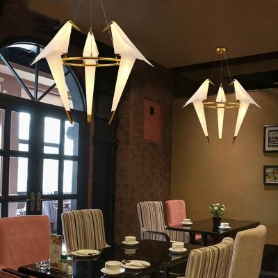 Origami Crane Ceiling Lighting Modern Plastic Restaurant Chandelier Light Fixture in Gold