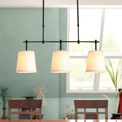 3-Head Tapered Island Light Minimalistic White Fabric Hanging Lamp for Dining Room