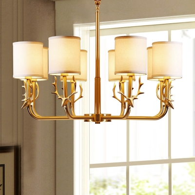 Cylindrical Fabric Hanging Ceiling Light Traditional Dining Room Chandelier with Deer Deco