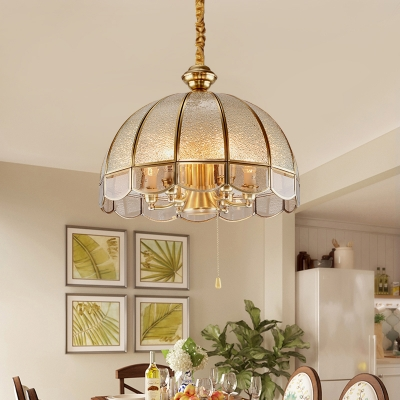 Dome Scalloped Glass Suspension Lighting Classic Dining Room Chandelier Light in Gold