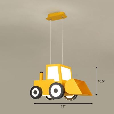 Metal Forklift Truck Shaped Chandelier Lighting Cartoon LED Pendant Lamp for Nursery