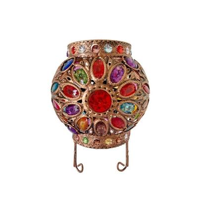 Multicolored Globe Table Lantern Lamp Bohemian Metal Single Bedside Night Light with Scroll Stand