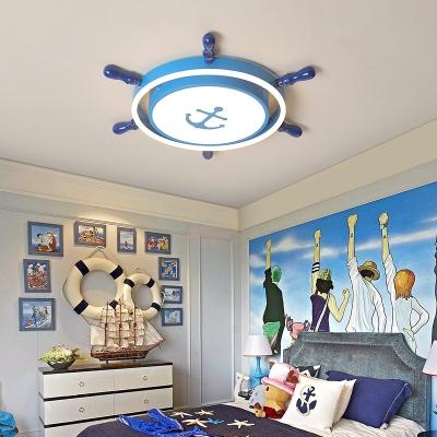 Ship Rudder Acrylic LED Flush Light Mediterranean Flush Mount Ceiling Fixture for Kids Bedroom