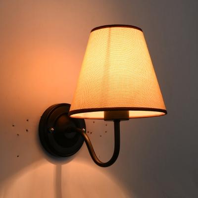 Single-Bulb Wall Mount Light Simplicity Bucket Shade Fabric Wall Lighting for Bedroom