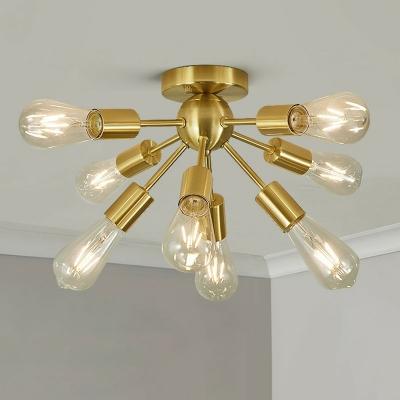 Sputnik Shape Iron Semi Flush Loft Style 8-Light Living Room Ceiling Mount Chandelier