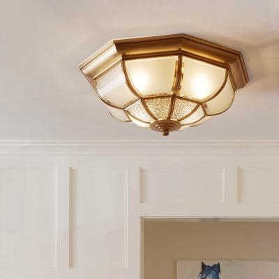Brass 4 Lights Flush Mount Ceiling Lamp Classic Frost Glass Yurt Shaped Flush Light