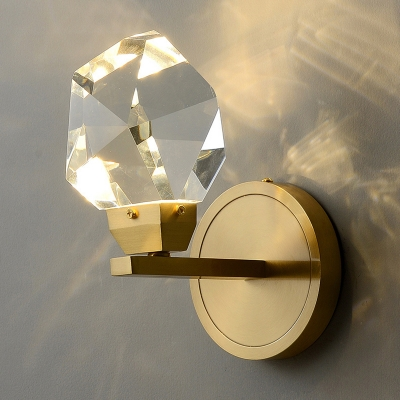 Faceted-Cut Crystal Rock Wall Light Simplicity Golden LED Sconce Lamp for Bedroom