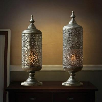 Single Cylindrical Lantern Table Light Moroccan Bronze Metallic Nightstand Light