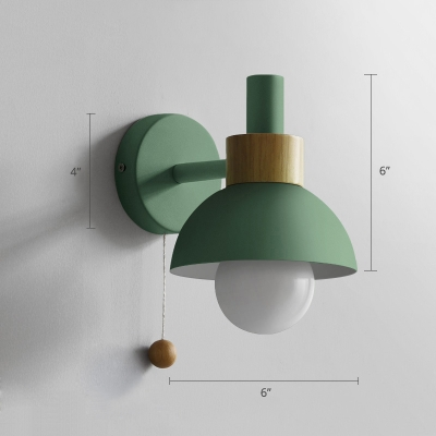 Torchlight Shaped Wall Light Macaron Metal 1 Head Kids Bedroom Wall Mounted Lamp with Ball Pull Chain