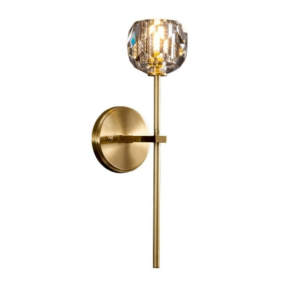 Faceted Crystal Ball Wall Lighting Minimalist Antique Gold Sconce Wall Light for Living Room