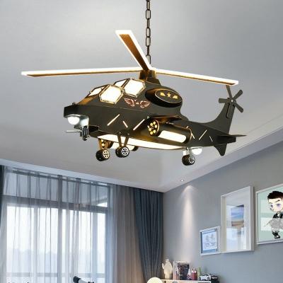 Kids Military Helicopter Pendant Light Kit Metallic Bedroom LED Chandelier in Black
