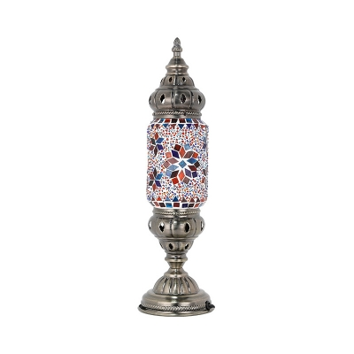 Nickel Finish Censer Table Lamp Turkish Handcrafted Stained Glass Single Bedroom Night Light