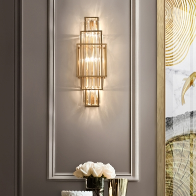 Postmodern Rectangle Sconce Fixture Clear Crystal Bedroom Wall Mount Light in Gold
