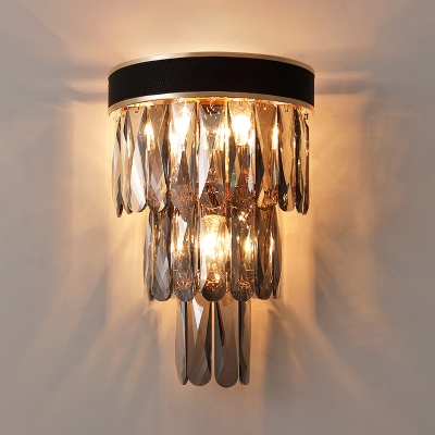 Tiered Beveled Crystal Wall Light Postmodern 3 Lights Black Sconce Lighting for Living Room
