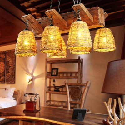 Asian Bell Shaped Island Light Rattan Living Room Hanging Ceiling Light in Brown