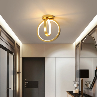 Crossed Ring Metal LED Ceiling Light Simple Style Acrylic Semi Flush Light for Corridor