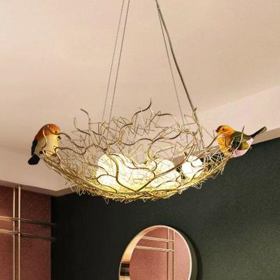 Nest Dining Room Chandelier Aluminum 8 Heads Art Deco Pendant Light with Egg Milk Glass Shade