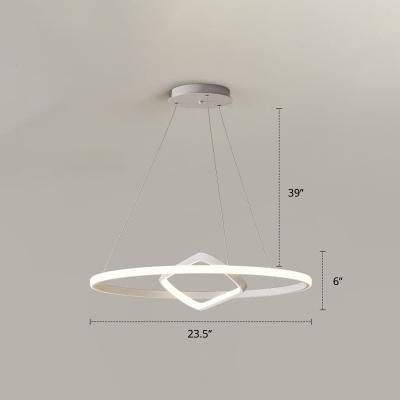 Minimalist Halo LED Pendant Light Fixture Metal 2-Light Dining Room Ceiling Chandelier