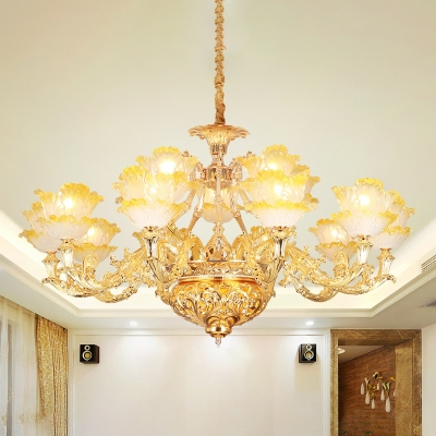 Gold Floral Ceiling Suspension Lamp Traditional Ombre Glass Bedroom Chandelier Light Fixture