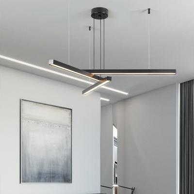 Stick Chandelier Lighting Simplicity Aluminum Living Room Ceiling Suspension Lamp