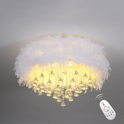 White Round Flush Ceiling Light Modern Feather LED Flush Light Fixture with Decorations