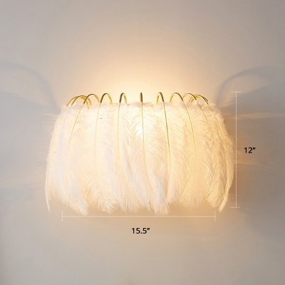 Feather Shade Wall Lamp Minimalistic Single-Bulb Wall Sconce Lighting for Bedroom