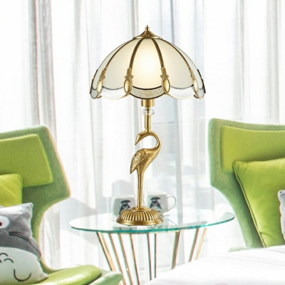 Gold Dome Table Lamp Traditional Frosted Glass 1-Light Bedside Night Light with Bird Pedestal