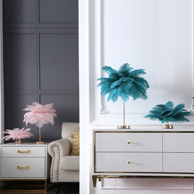 Modern Romantic Coconut Tree Night Lamp Feather Single Living Room Table Lighting