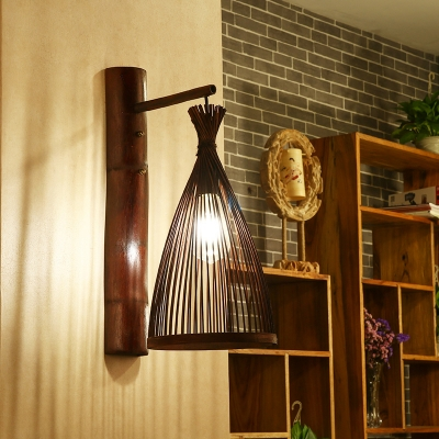 Conical Bamboo Wall Hanging Light Asian 1 Bulb Dark Brown Wall Mounted Lamp for Corridor