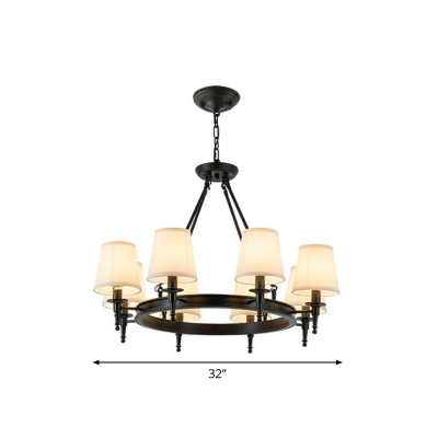 Rustic Cone Shade Chandelier Lamp Fabric Pendant Lighting Fixture for Living Room