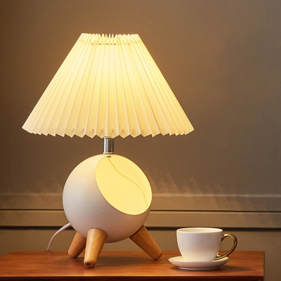 Pleated Fabric Tapered Nightstand Light Childrens 1-Bulb Table Lamp with Tripod Dome Nest and Figurine Decor