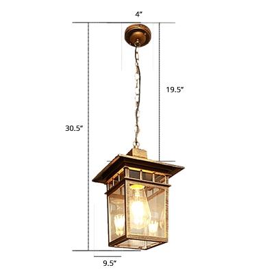 Rectangle Clear Glass Pendulum Light Country 1-Light Outdoor Suspension Light Fixture