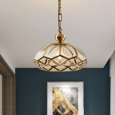 Dome Clear Glass Pendant Light Vintage 1-Light Dining Room Suspension Lighting in Gold